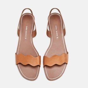 ZARA Basic Leather Slides w/ Wavy Strap